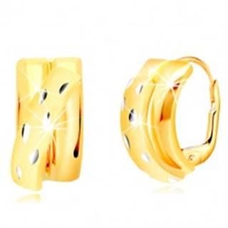 Náušnice zo 14K zlata - lesklé polkruhy zdobené diagonálnym matným oblúkom