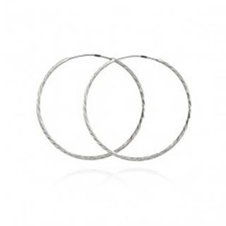 Náušnice zo striebra 925 - úzke trblietavé kruhy, 30 mm