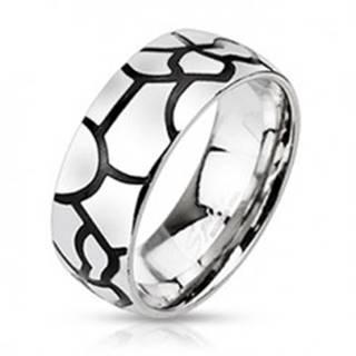 Oceľový prsteň - imitácia čiernych prasklín - Veľkosť: 51 mm