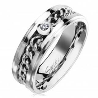 Oceľový prsteň v striebornom odtieni s retiazkou a čírym zirkónom, 7 mm - Veľkosť: 49 mm