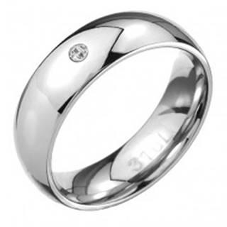 Oceľový prsteň - zrkadlovo lesklý oblý povrch, číry zirkónik - Veľkosť: 49 mm