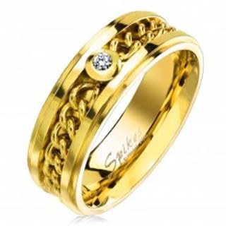 Prsteň z chirurgickej ocele zlatej farby s retiazkou a čírym zirkónom, 7 mm - Veľkosť: 49 mm