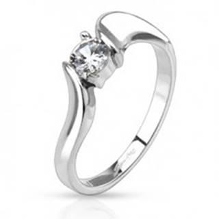 Prsteň z ocele - číry okrúhly zirkón v strede a zvlnené ramená - Veľkosť: 49 mm