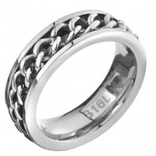 Prsteň z ocele - retiazkový stredový pás, strieborná farba C26.2 - Veľkosť: 51 mm