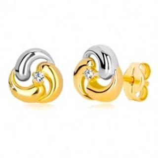 Puzetové náušnice zo zlata 585 - dvojfarebný kvet, tri zaoblené kvapky GG36.28