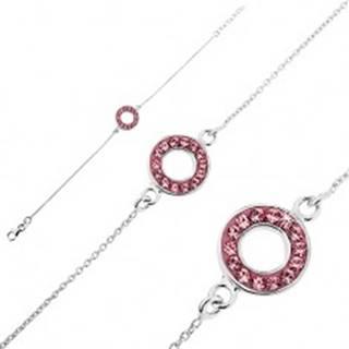 Strieborný náramok 925 - retiazka s kruhom a ružovými zirkónmi