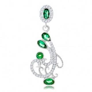 Strieborný prívesok 925, ornament zdobený čírymi a zelenými zirkónmi