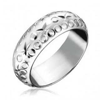 Strieborný prsteň 925 - gravírované hviezdy a krúžky - Veľkosť: 49 mm