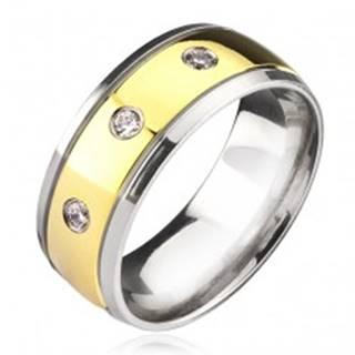 Titánový prsteň - dvojfarebný so zirkónmi C23.11 - Veľkosť: 57 mm