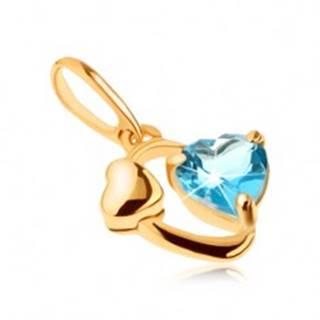 Zlatý prívesok 585 - kontúra oválu, lesklé srdiečko, srdce z modrého topásu