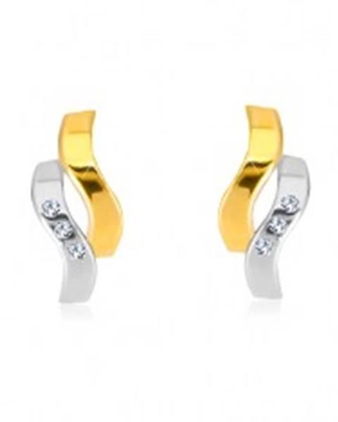 Náušnice v kombinovanom 14K zlate - dve zvlnené línie, drobné zirkóny