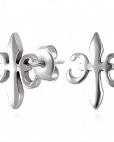 Náušnice z ocele 316L, symbol kráľovskej ľalie - Fleur de Lis