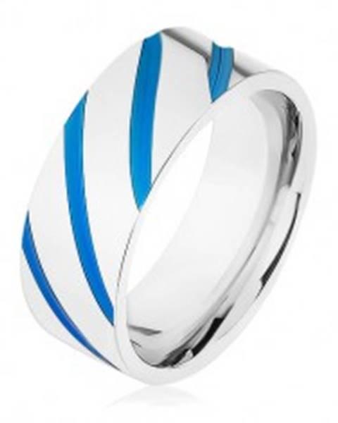 Oceľová obrúčka striebornej farby, diagonálne pásy, modrá glazúra - Veľkosť: 57 mm