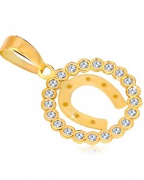 Prívesok zo žltého 14K zlata - zirkónový kruh a podkova pre šťastie
