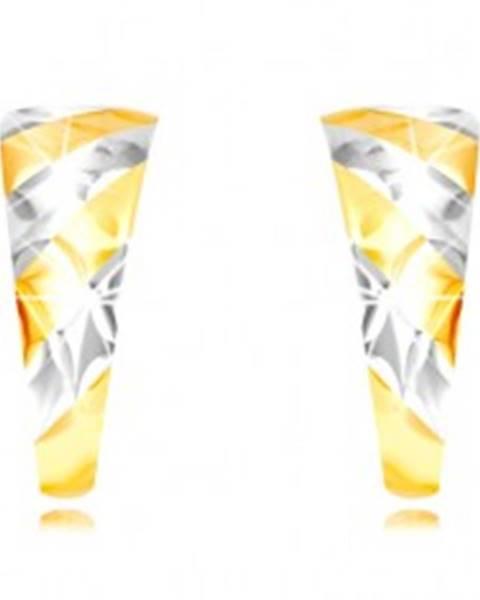 Puzetové náušnice zo zlata 585 - nesúmerný oblúk, šikmé pásy, mriežka