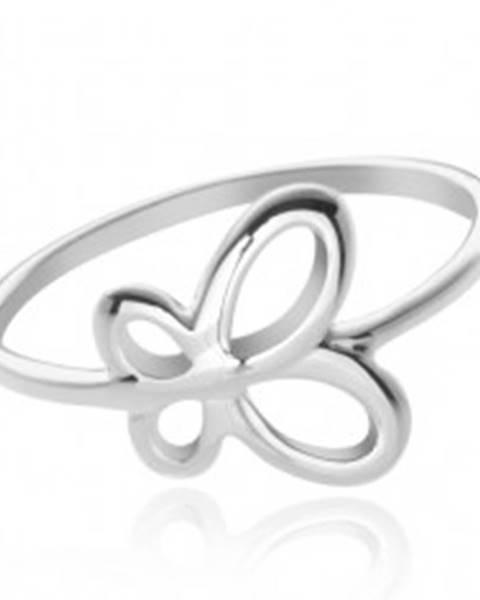 Strieborný prsteň 925 - krídla motýľa - Veľkosť: 49 mm