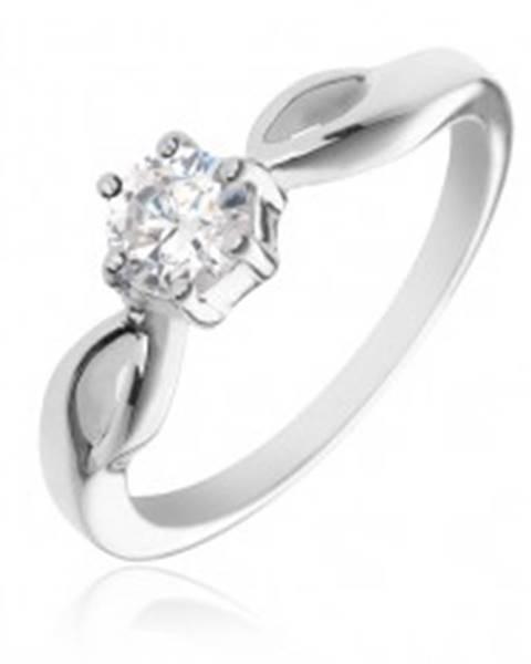 Strieborný prsteň 925 - okrúhly číry zirkón, ramená so slzičkami X42.11 - Veľkosť: 50 mm