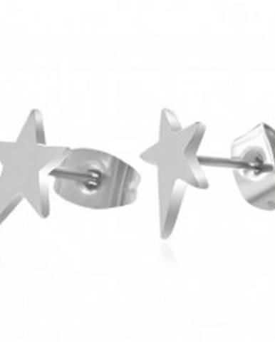 Náušnice, chirurgická oceľ, asymetrická hviezda, vysoký lesk, puzetky U26.07