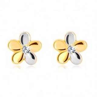 Briliantové náušnice zo zlata 585 - kvet s piatimi lupeňmi a diamantom BT504.15
