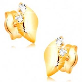 Náušnice v 14K žltom zlate - lesklý lístoček s dvomi čírymi zirkónmi