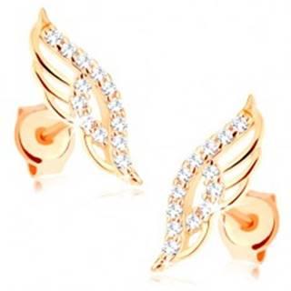 Náušnice v žltom 14K zlate - ligotavé anjelské krídlo zdobené čírymi zirkónikmi