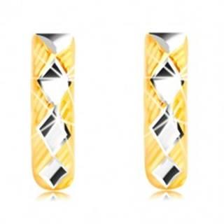 Náušnice zo 14K zlata - lesklé kosoštvorce v bielom zlate, trojuholníky s líniami