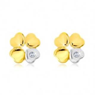 Náušnice zo 14K zlata - štvorlístok pre šťastie, srdiečko so zirkónom GG19.34
