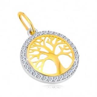 Prívesok v kombinovanom 14K zlate - kruh so stromom života, ligotavé zirkóny