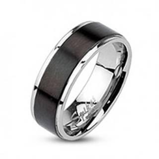 Prsteň z ocele - obrúčka s čiernym matným pásom, 7 mm  - Veľkosť: 49 mm
