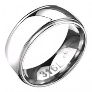 Prsteň z ocele - zaoblená obrúčka s dvoma ryhami po okrajoch - Veľkosť: 57 mm