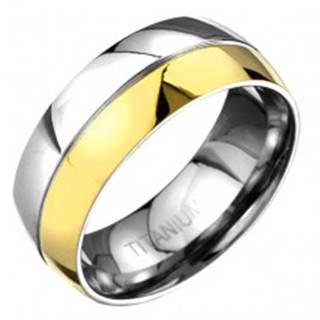 Prsteň z titánu - zlato-striebornej farby zaoblená obrúčka s deliacou ryhou - Veľkosť: 57 mm