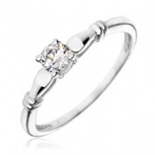 Strieborný zásnubný prsteň 925 - číry zirkón, dvojité prstence X42.12 - Veľkosť: 49 mm
