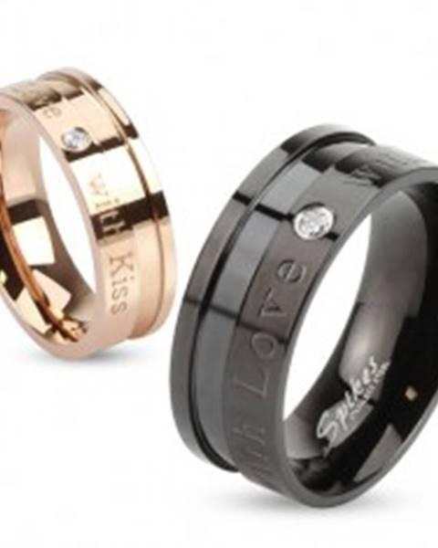 Čierna obrúčka z ocele 316L, nápisy a vsadený okrúhly zirkónik čírej farby, 8 mm M02.27 - Veľkosť: 60 mm