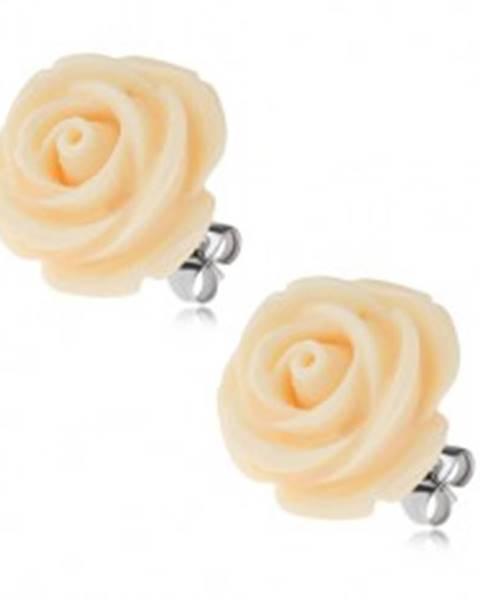 Oceľové náušnice, krémový kvet ruže zo živice, puzety, 20 mm