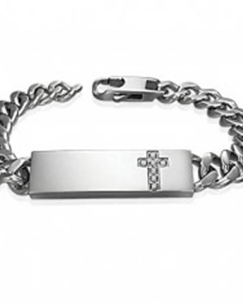 Oceľový náramok v štýle hodiniek s čírym zirkónovým krížom na platničke