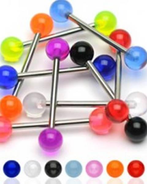 Oceľový piercing do jazyka s farebnými akrylovými guličkami - Farba piercing: Čierna