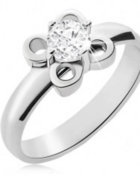 Oceľový prsteň striebornej farby, kvietok s čírym zirkónom L14.08 - Veľkosť: 49 mm