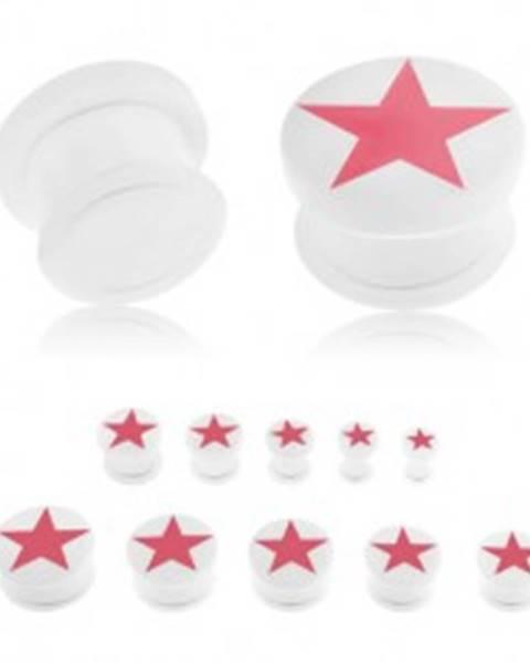 Plug do ucha, akryl bielej farby, ružová päťcípa hviezda, číra gumička - Hrúbka: 10 mm