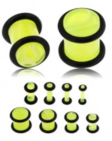 Plug do ucha z akrylu, neónovo žltá farba, mramorový vzor, čierne gumičky - Hrúbka: 10 mm