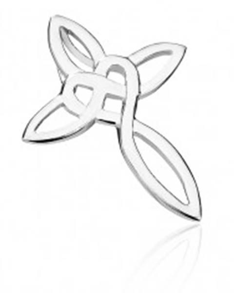 Prívesok zo striebra 925 - prepletaná línia kríža, keltský uzol a srdce
