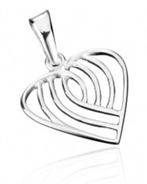 Prívesok zo striebra 925 - pruhované srdce