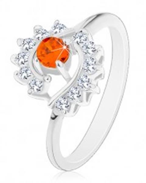 Prsteň striebornej farby, číre zirkónové oblúky, okrúhly oranžový zirkón - Veľkosť: 49 mm, Farba: Oranžová
