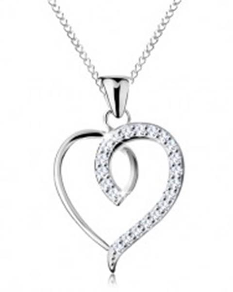 Strieborný 925 náhrdelník, nesúmerný obrys srdca s trblietavou polovicou AC23.05