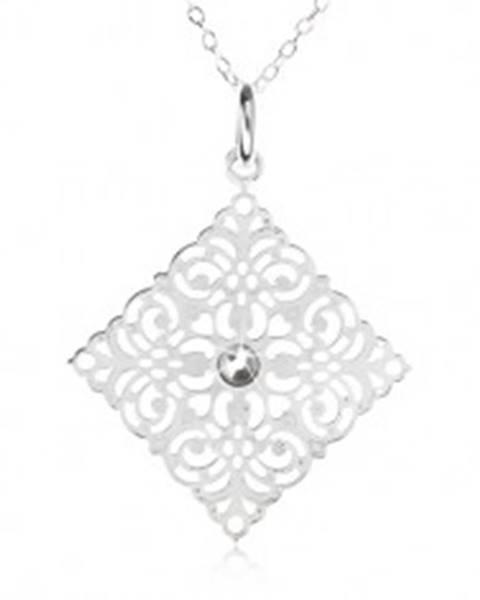 Strieborný 925 náhrdelník - retiazka, ozdobne vyrezávaný štvorec, zirkón