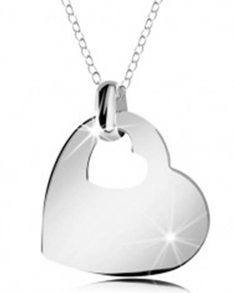 Strieborný náhrdelník 925, lesklé srdce s výrezom malého srdiečka, retiazka