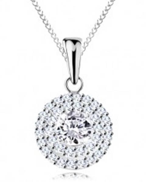 Strieborný náhrdelník 925 - prívesok a retiazka, okrúhly číry zirkón v dvojitej kontúre AC23.03