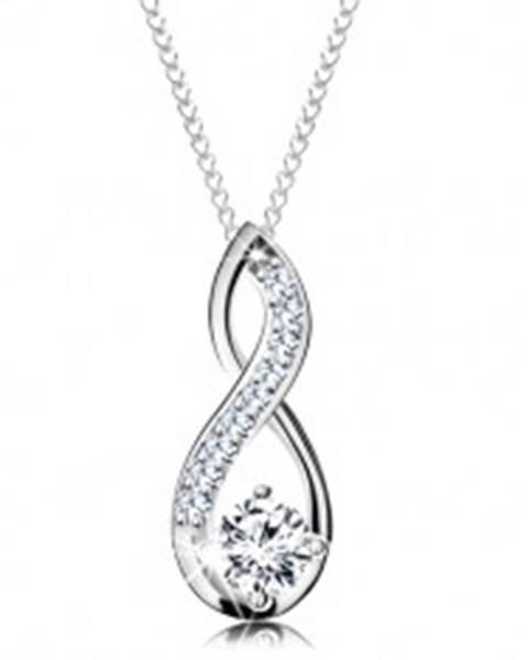 2b9543905 Strieborný náhrdelník 925, prívesok slučky s okrúhlym čírym zirkónom AC19.05