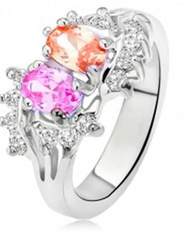 Lesklý prsteň striebornej farby, dva farebné kamienky, malé číre zirkóny L9.03 - Veľkosť: 48 mm