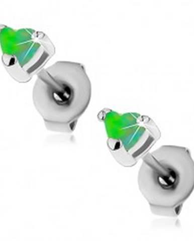Oceľové náušnice striebornej farby, syntetické opálové srdiečka zelenej farby, 3 mm AC22.11