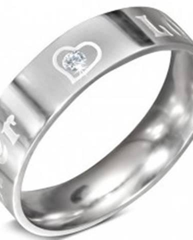 Oceľový prsteň - nápis FOREVER LOVE a zirkón, 6 mm D8.15 - Veľkosť: 52 mm